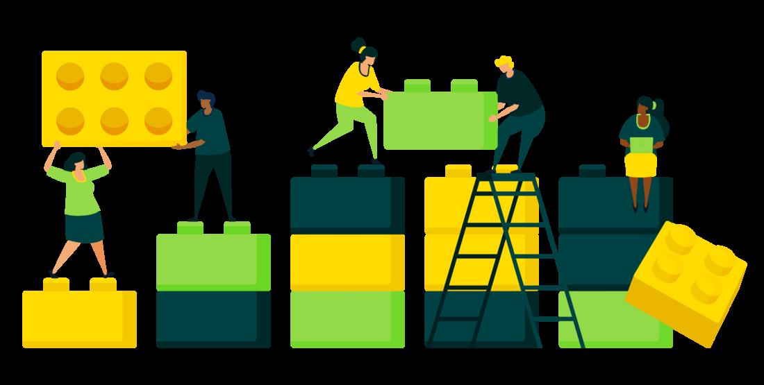 Illustration von Menschen, die Bausteine aufeinander bauen